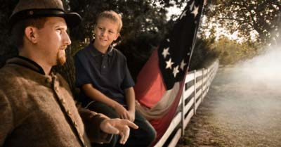 boy with civil war reenactor