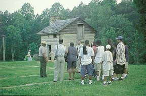 Group tour of Booker T. Washington's birthplace