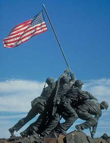 Statue of Marines raising flag on Mt. Suribachi during World War II