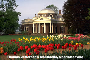 Monticello in spring with flowers blooming in the garden