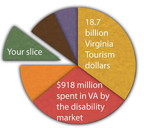 pie chart showing $918 million spent by the disability market in VA each year.